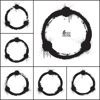 Grunge abstrakter runder form-vektorsatz