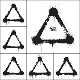 Grunge abstraktes dreieck formt vektorsatz