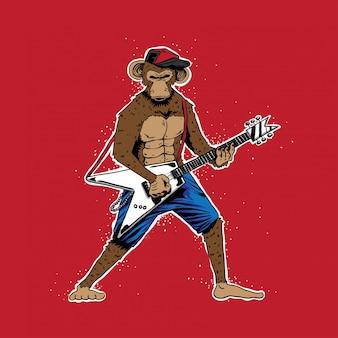 Grunge affe mit e-gitarre-vektor-illustration