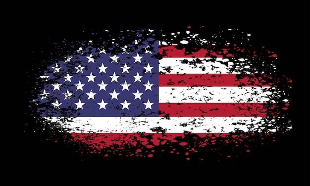 Grunge amerikanische flagge auf schwarzem hintergrund