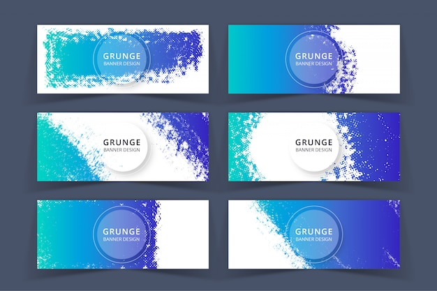 Grunge art blue banners set