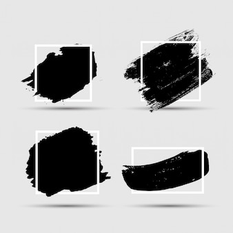 Grunge brush farbtintenstrich mit quadratischem rahmenhintergrund eingestellt. illustration