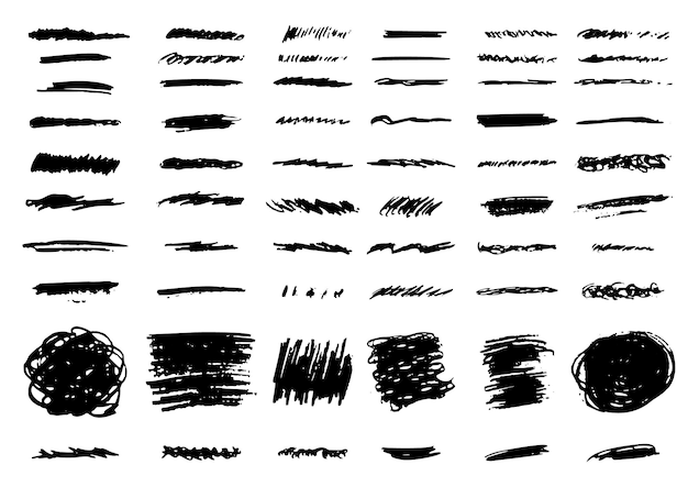 Grunge bürsten vektor handgezeichnete set vektor-illustration