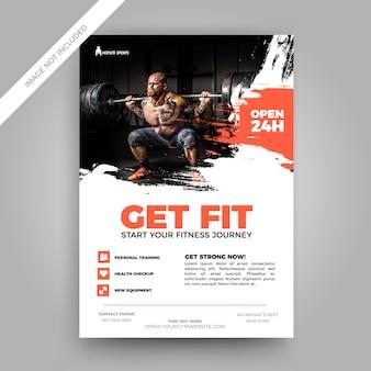 Grunge fitness flyer vorlage