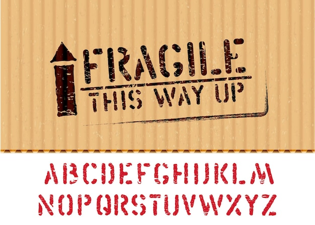 Grunge fragile box schild mit pfeil nach oben auf karton für logistik oder fracht und alphabet. bedeutet auf diese weise nach oben, mit vorsicht behandeln. vektor-illustration