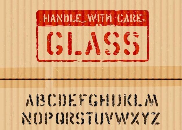 Grunge glaskastenschild auf einem stück karton für logistik oder fracht und alphabet. bedeutet zerbrechlich, mit vorsicht behandeln. vektor-illustration