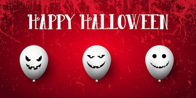 Grunge halloween banner mit gruseligen luftballons