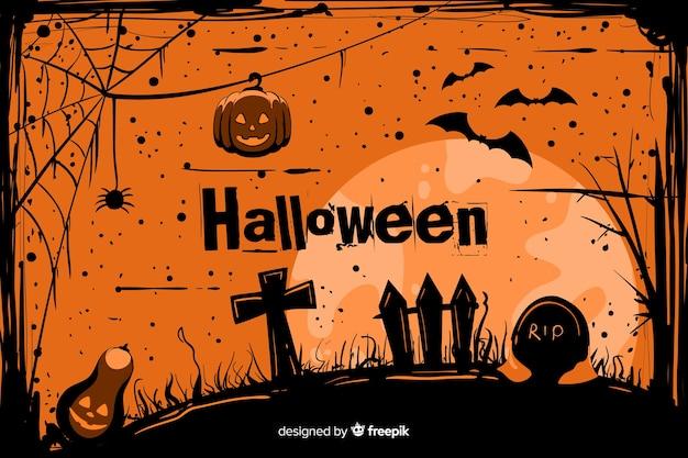 Grunge halloween hintergrund auf einem friedhof