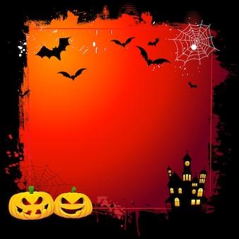 Grunge halloween hintergrund mit gruseligen kürbissen und spukhaus