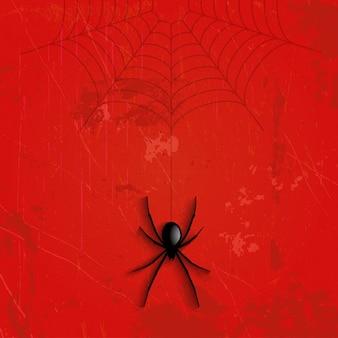 Grunge halloween hintergrund mit hängenden spinne