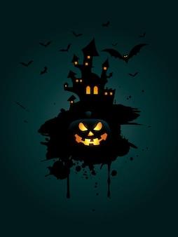Grunge halloween-hintergrund mit kürbis und gespenstischem haus
