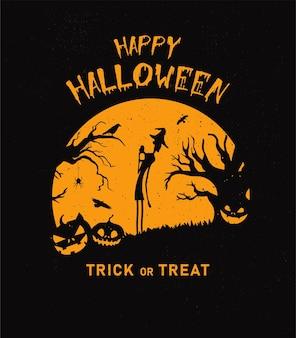 Grunge halloween-hintergrund mit kürbisfledermäusen friedhof und spinnen