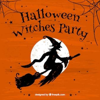 Grunge halloween withches parteiplakat
