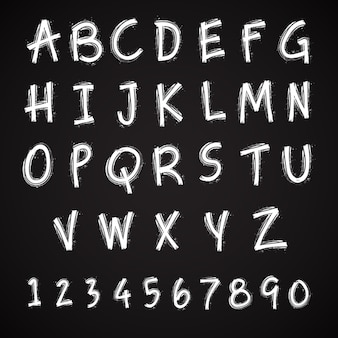 Grunge handgemachtes schrifttypographiealphabet mit zahlen