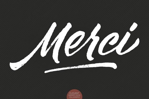 Grunge handgezeichnete schriftzug merci