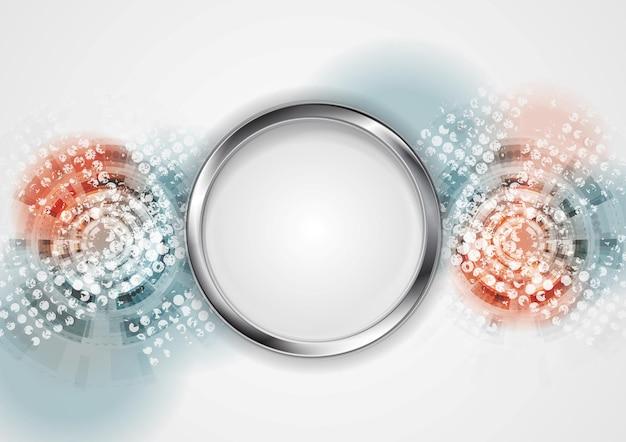 Grunge hightech- abstrakter hintergrund mit metallkreis. vektordesign
