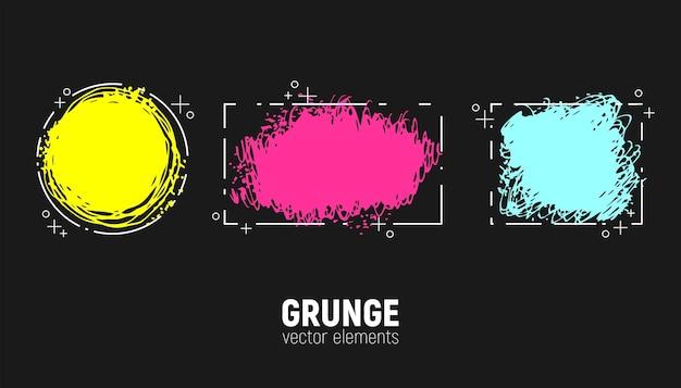 Grunge-hintergründe eingestellt. vektorpinselstriche. bereich für text