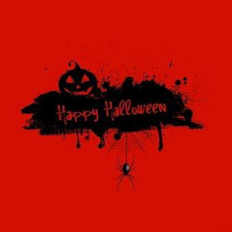 Grunge hintergrund mit halloween-kürbis und spinne