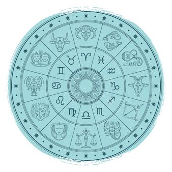Grunge horoskop kennzeichnet innen astrologiekreis