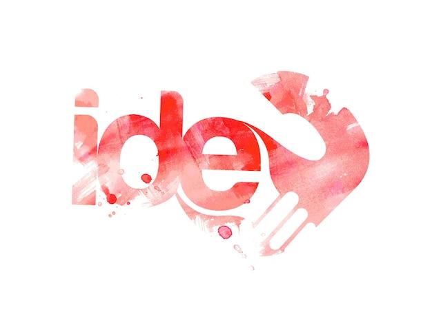 Grunge idee schriftzug typografisch mit menschlicher hand logo typ 3d illustration design.