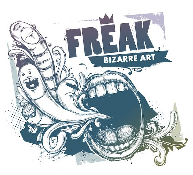 Grunge-illustration mit zeichen und mund