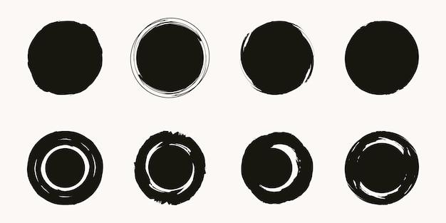 Grunge-kreis-banner. vektorgrunge, notbeschaffenheiten. leere form. schmutziges künstlerisches gestaltungselement.