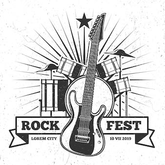 Grunge monochrome rock festival plakatgestaltung. hipster musik vektor emblem