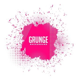 Grunge rosa tintenspritzer halbtonhintergrund