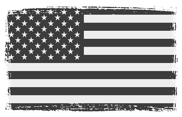 Grunge schwarze und weiße amerikanische flagge