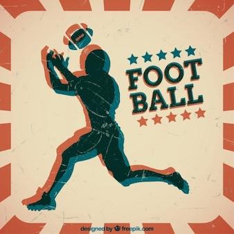 Grunge silhouette american football-spieler hintergrund