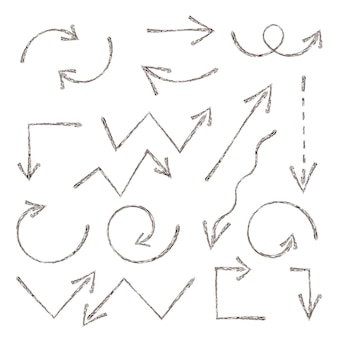 Grunge-skizze-pfeil. handgezeichnete tintenpfeile eingestellt. handgezeichnetes element. vektorillustrationsgrafikelementdesign, websammlung von skizzenpfeilen