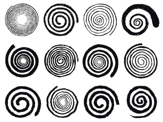 Grunge-spiralen. wirbelnde abstrakte einfache rotierende spiralen, schwarze tintenspiralenkreise isolierten vektorillustrationssatz. vortex wirbelelemente und rotierende hypnotisieren, psychedelisch und hypnotisch
