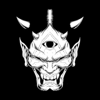 Grunge-stil cartoon dämon gesicht satan oder luzifer mit hörnern