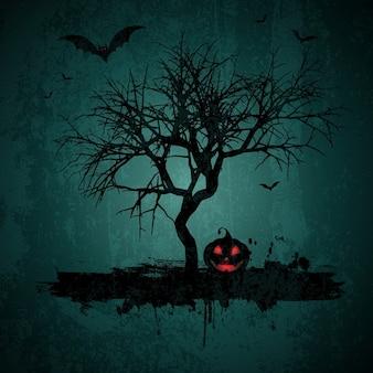 Grunge-stil halloween-hintergrund mit fledermäusen kürbislaterne und baum