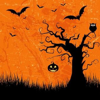 Grunge-stil halloween-hintergrund mit fledermäusen kürbislaterne und eule