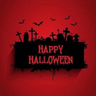 Grunge-stil halloween hintergrund mit gräbern und fledermäuse