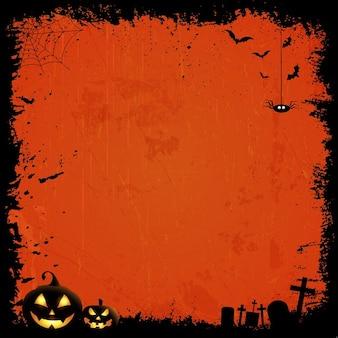 Grunge-stil hintergrund mit halloween-kürbisse