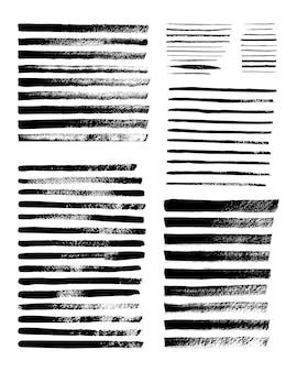 Grunge-streifen. satz von vektor-tintenbürsten. schmutzige texturen für banner, boxen, rahmen, muster, drucke und designelemente. schwarze linien auf weißem hintergrund