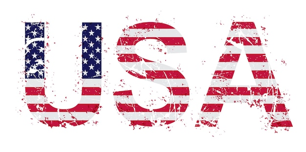 Grunge usa text mit flagge