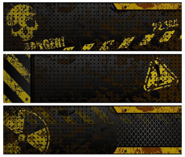 Grunge web banner vektor vorlage festgelegt