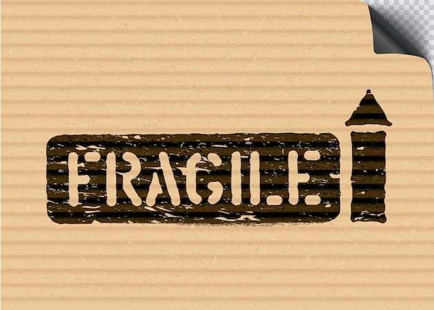 Grunge zerbrechliches frachtboxschild mit pfeilen auf papppapierhintergrund für die logistik. bedeutet so nach oben, mit vorsicht behandeln. vektor-illustration