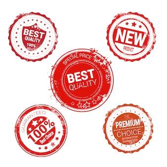 Grungy red seal set hochwertige produkte isoliert abzeichen sammlung