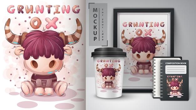 Grunzender ochse - plakat und merchandising