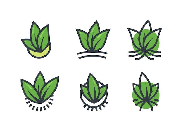Gruppe baum blatt natur ökologie logo icon set
