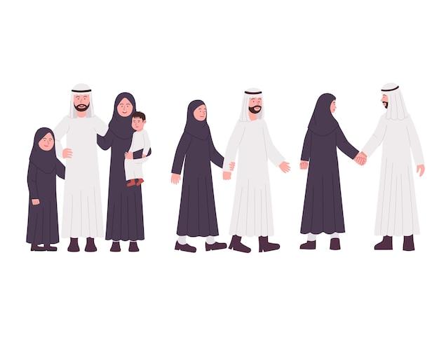 Gruppe der arabischen familienpaar-flachillustrationskarikatur