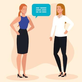 Gruppe der eleganten geschäftsfrauen, die mit sprechblase sprechen