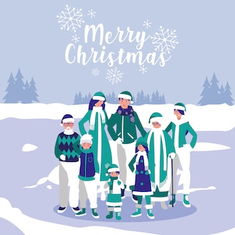 Gruppe der familie mit kleidungsweihnachten in der winterlandschaft