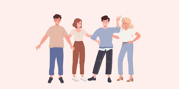 Gruppe der glücklichen jungen leutefreunde auf einer weißen hintergrundvektorillustration