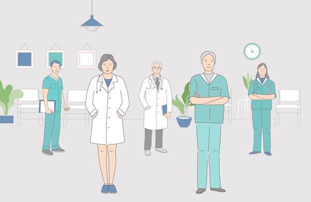 Gruppe der glücklichen lächelnden medizinischen arbeiter, die zusammen innenkarikatur-umrissillustration stehen. männer und frauen in medizinischer uniform stehen im raum des krankenhauses.