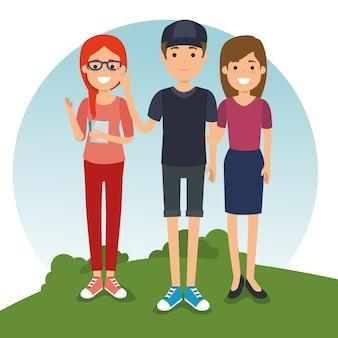 Gruppe der jungen leute der milennialsgeneration